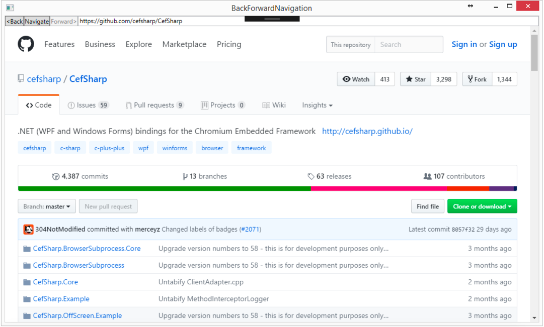 CefSharp Tutorials - One-Tabbed Browser with URL Navigation
